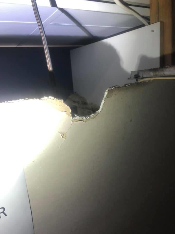 gnawed wall by a rat